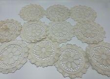11 Vintage Needle Lace Coasters Doilies Estate Lot Off White