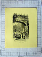 Original Old Antique Print C1790-C1900 Cricket Men Entrance Playing Field Sport