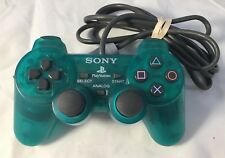 Sony Playstation 1 PS1 Controller Emerald Green Dualshock SCPH-1200 Has Crack