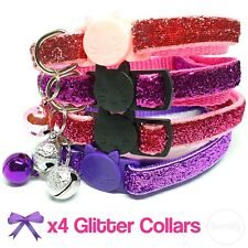 Cute Glitter Girly Pink Collar Bundle Cats Kittens Bell Adjustable Quick Release