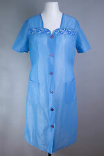 Vintage: azul claro RDA dederon bata delantal blouse Apron casa vestido (m88)
