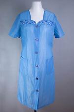 Vintage: Hellblau DDR Dederon Kittel Schürze Blouse Apron Hauskleid (m88)