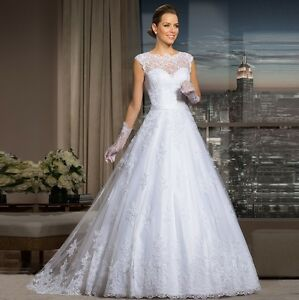 2015 New Illusion Lace Appliqué Tulle wedding gown, UK tailor, custom made