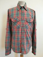 EE59 MENS SUPERDRY RED GREEN BLUE WHITE ROLL SLEEVE SLIM FIT SHIRT UK M EU 50