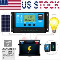 30-60Amp PWM Solar Panel Battery Dual USB Regulator Controller 12V/24V 1500W