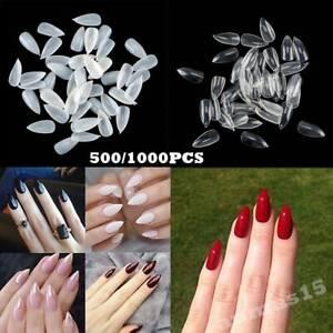 500/1000x Curved Stiletto False Nail Tips Acrylic Gel Salon Half Cover Nails Art