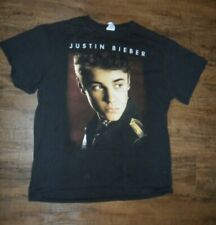 Justin Bieber Believe 2012 2013 Tour Black 2 Sided T-Shirt Pop Music Size Large
