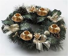 GOLD Ribbon Wreath Candle Holder Centerpiece ADVENT Christmas Anniversary