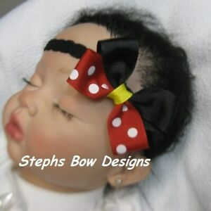 Minnie Mickey Mouse Red Dots Dainty Hair Bow Headband Fits Preemie to Toddler