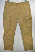 Levi's Cargo Pants Straight Khaki Tan Size 32 Brown Meas. 31x29.5 Pocket Jeans