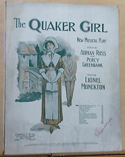 """Come To The Ball - 1910 sheet music - from """"The Quaker Girl"""" musical, Valse Song"""