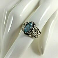Sterling Silver 925 Filigree Marquise Blue Topaz Blue Ring 6 ½ Signed Avon Gift