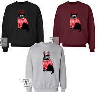 CAT PRINT CAT WITH HORNS IN CHRISTMAS JUMPER  UNISEX ADULT KIDS WOMENS XMAS JUMP