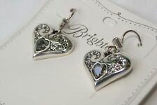 New Brighton Alcazar Glam Silver With Clear & Smoky Crystal Heart Wire Earring