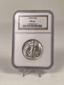 1945-S US Mint 50C Walking Liberty Half Dollar - NGC MS63