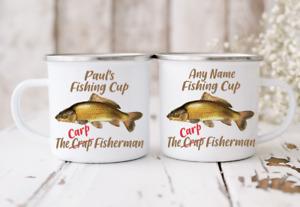 Personalised Carp Funny Fishing  Mug Gift Present High Quality Enamel Silver Rim