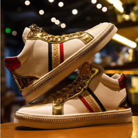 Men's Casual Shoes Men White Skate Sneakers Leather Golden Luxury Embroidery Sho
