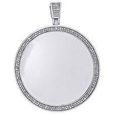 """Prata Esterlina Diamante Medalhão Pingente Quadro Memória foto 2.3"""" charme 1/2 Quilates"""