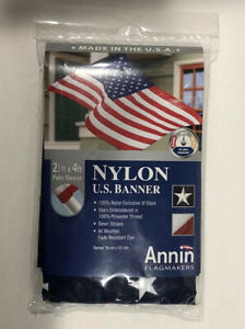 American Flag ANNIN® Made in the USA Nyl-Glo® 2-1/2' x 4' Colorfast Pole Sleeve