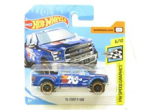 Hotwheels 15 Ford F-150 HW Speed Graphics Blue Short Card 1 64 Scale Sealed New