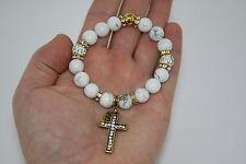 Cross Gold Tone Metal Beaded Crystal Fashion Charm Bracelet US Seller CHOICE