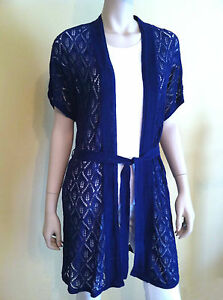 THE LIMITED Cardigan Sweater Crochet Knitted Kimono Sleeve Ink Blue Size S