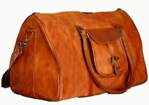 Mens genuine Leather large Triangle duffle travel weekend overnight bag gym bag