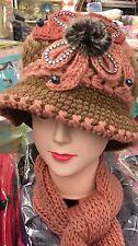 Scarf And Hat Set Women's warm knitted SkullCap Winter Fashion W/Rhinestone
