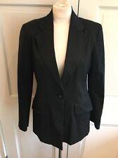 Vintage Kenzo France Stretch Cotton Blazer Jacket Black One Button Sz 42 Us 10