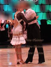 L3987 Ballroom Samba Cha Cha Ramba Latin  Rhythm US 8 Dance dress fringes sleeve