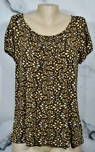 NEW YORK & COMPANY STRETCH Olive Brown Black White Pattern Top Large Short Slvs