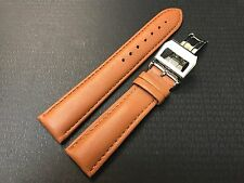 20mm Tan Caramel Genuine Leather Watch Band Stainless Steel Deployment Buckle