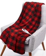 Biddeford Velour Sherpa Electric Heated Throw Blanket Brick Red