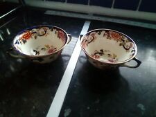Mason.'s Blue Mandalay Two Handled Coffee Cups Or Soup Bowls