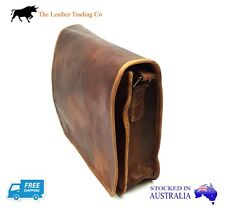 "11"" Leather Messenger Satchel Bag - Unisex Rustic Look - iPad/Tablet Bag"