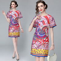 New Summer Vintage Floral Print Crew Neck Short Sleeve Women Casual Shift Dress