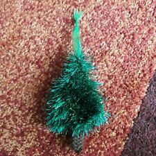 Hand Knitted Xmas Tree Decoration Tinsel Wool
