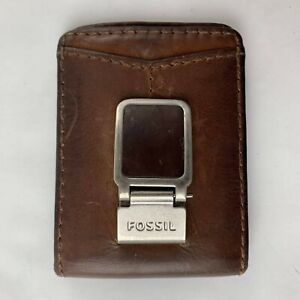 Vintage FOSSIL WALLET Brown Leather Money Clip MultiCard ID Holder Casual