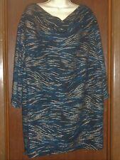 Maggie Barnes Blouse Size 3X  26/28 Black Gold Blue Christmas Holiday Plus Sz.