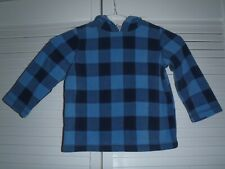Jumping Beans Hooded Blue & Navy Plaid Fleece Ls Shirt Size 3T Super Soft! Cute!
