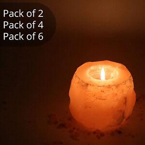 Pack of 2, 4, 6 Natural Himalayan Crystal Salt Rock Tea Light Candle Holder