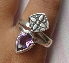 925 Sterling Silver-LH44-Balinese Handcrafted Modern Ring Amethyst Size 8