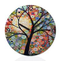 Life Tree Art Paint Wood Wall Clock Home Office Room Decor Gift Round