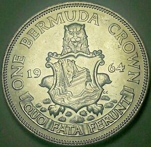 1964 BERMUDA 1 ONE CROWN SILVER UNC GEM BU BLAST WHITE CHOICE LUSTER (DR)