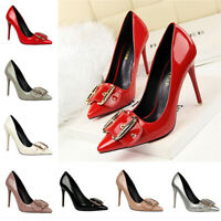 Ladies Metal Buckle Office Court Shoes Womens Pointed Toe Stiletto Formal Pumps