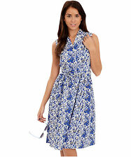 Cotton Blend Collar Casual Floral Dresses for Women