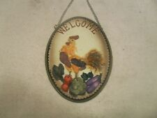 Décor Wall Plaque W/ Rooster and Vegetable ~ Artificial Stone