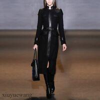 100%Wool Cashmere Womens Long Sleeve Leather Coat Dress Slim Waistband Jacket SZ