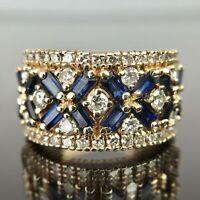 14K Yellow Gold Over 2.14CT Blue Sapphire & Diamond Engagement Wedding Ring