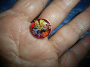 Sterling Silver Dried flowers multicolored Ring adjustable